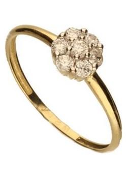 Złoty pierścionek 585 kwiat białe cyrkonie 1,10 g Lovrin LOVRIN - kod rabatowy