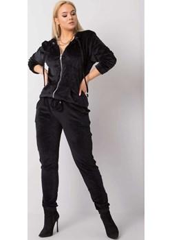 Czarny welurowy komplet plus size Michell okazja ajstyle.pl - kod rabatowy