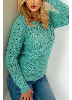 Lekki sweter ażurowy PIKO miętowy promocja zoio.pl - kod rabatowy