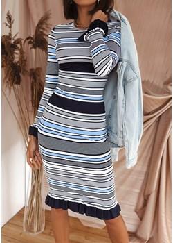 Sukienka Zeba - szara w paski Latika Butik Latika - kod rabatowy