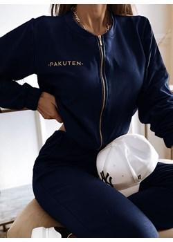 Granatowy komplet dresowy z bluzą typu bomberka Lomia - granatowy Pakuten okazyjna cena pakuten.pl - kod rabatowy