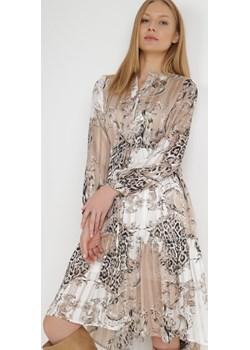 Biało-Beżowa Sukienka Moreris Born2be Odzież - kod rabatowy