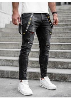 Czarne spodnie jeansowe męskie regular fit Denley TF088 Denley - kod rabatowy