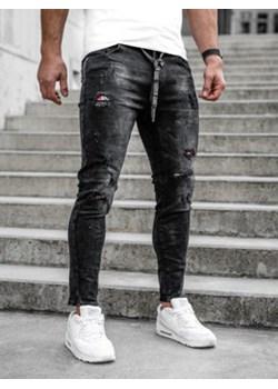 Czarne spodnie jeansowe męskie regular fit Denley TF091 Denley - kod rabatowy