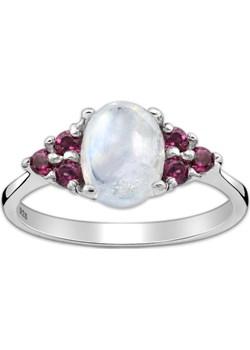 Srebrny pierścionek z kamieniem księżycowym i rodolitem Monarti monarti.pl - kod rabatowy