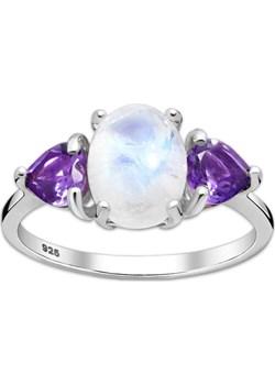 Srebrny pierścionek z ametystem i kamieniem księżycowym Monarti monarti.pl - kod rabatowy