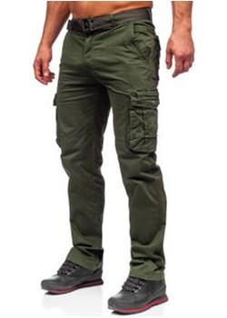 Ciemnozielone spodnie bojówki męskie z paskiem Denley CT8905L promocja Denley - kod rabatowy