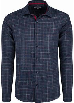 Bodara koszula flanelowa granatowa w niebiesko-czerwoną kratę Bodara ATELIER-ONLINE okazyjna cena - kod rabatowy