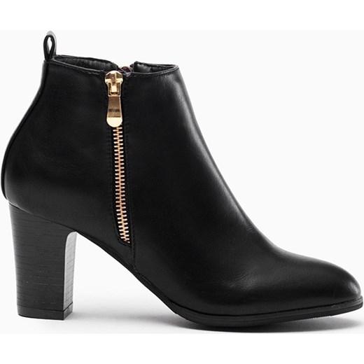 7af7cb5c1b07d Czarne eleganckie botki na słupku złoty suwak merg-pl czarny materiałowe ...
