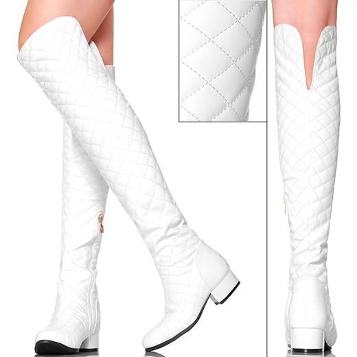 fa2e1d5775360 Muszkieterki Białe Pikowane Lakierowany Nosek buu-pl bialy lakierowane