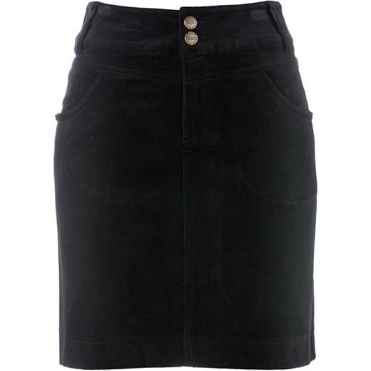 cb936ba3 Spódnica sztruksowa bonprix czarny bawełniane