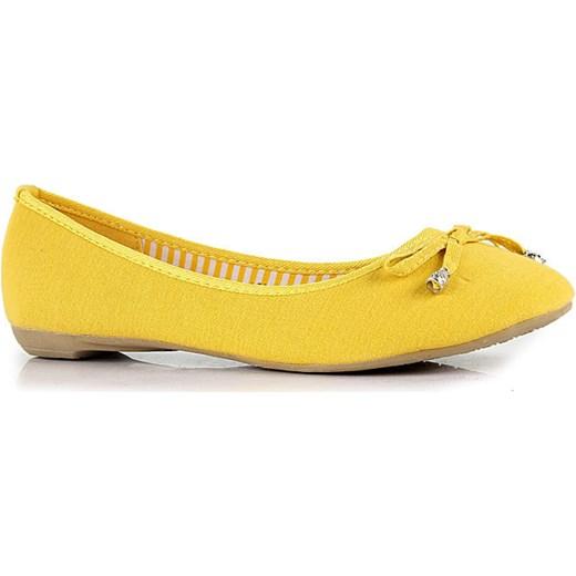 0a4fa18d338ce4 DIVA STAR żółte baleriny damskie z kokardką butyraj-pl zolty w Domodi