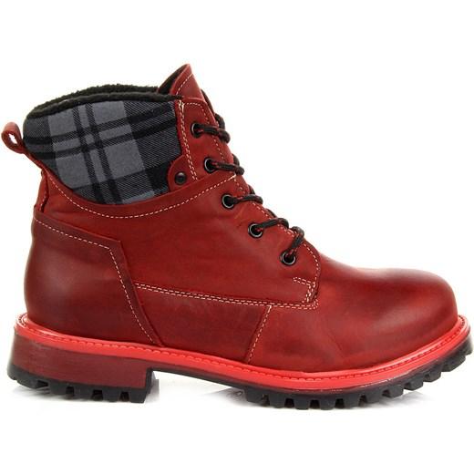 b15cb6c2e4445 ... HELIOS 663 skórzane czerwone botki damskie trapery sznurowane lekkie  komfortowe butyraj-pl czerwony koc ...