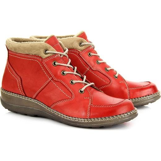 3796dc4971bfb HELIOS 635 skórzane czerwone botki damskie trzewiki sznurowane lekkie  komfortowe butyraj-pl czerwony Botki ...