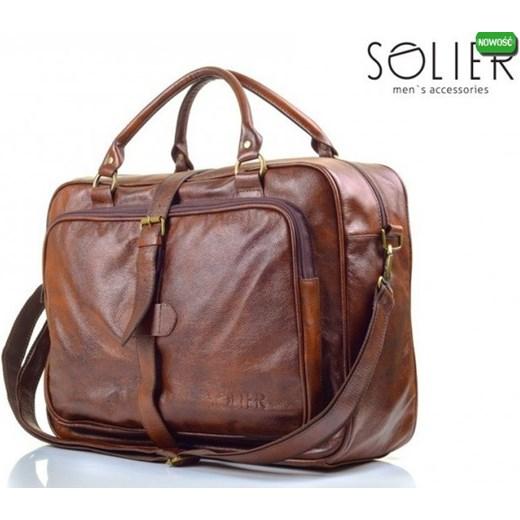 52fa38e0c7b60 Vintage brązowa torba męska na ramię Solier S10 Skóra Naturalna  dlakazdego-net fioletowy ciemny