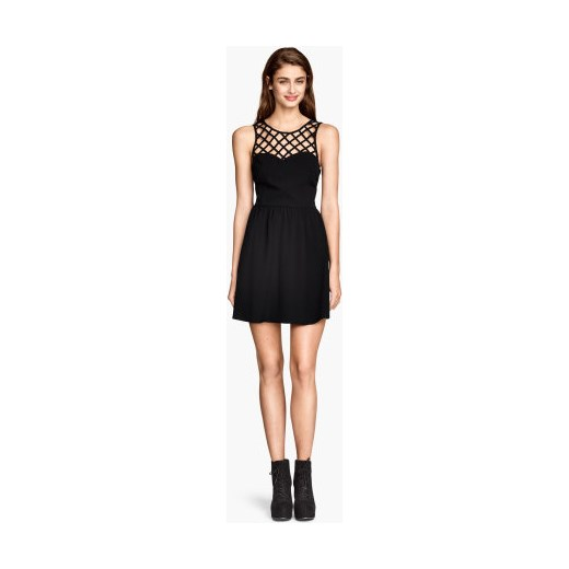 020dc88ccc Sukienka z ażurową górą h-m czarny ażurowe w Domodi
