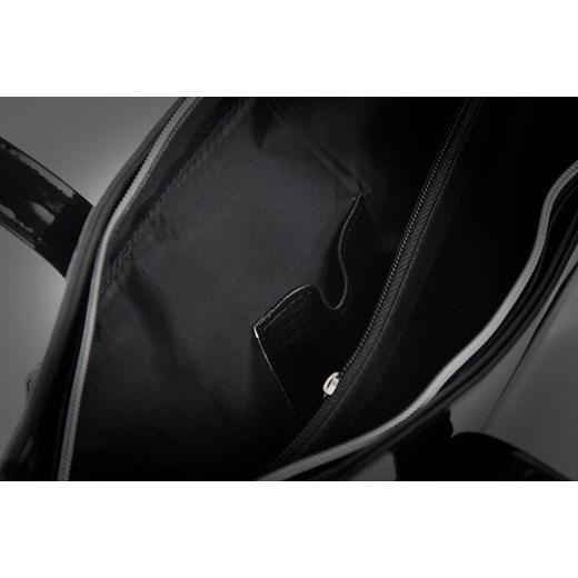 b1d81677ce1d5 ... FELICE Grande M01 - zamszowa i lakierowana torebka damska z kieszenią  skorzana-com czarny funkcjonalne