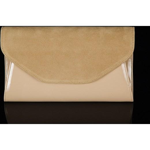 acbafaac9a3b0 FELICE Clutch F01 beżowa elegancka torebka damska wizytowa kopertówka  skorzana-com brazowy wizytowe ...