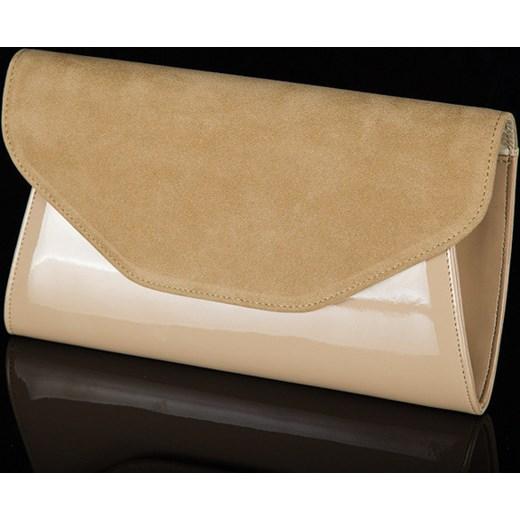 0dc237686cb66 ... FELICE Clutch F01 beżowa elegancka torebka damska wizytowa kopertówka  skorzana-com brazowy wizytowe ...