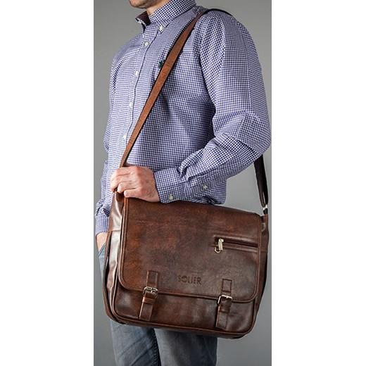 9e00074a7fc65 ... Stylowa brązowa casual torba męska na ramię SOLIER S12 skorzana-com  niebieski z kieszeniami ...