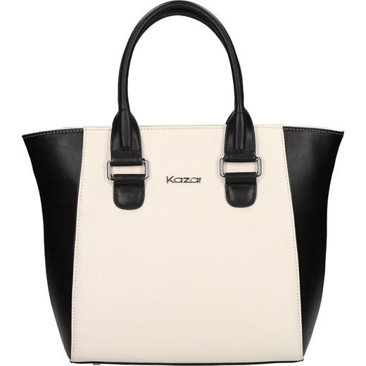 Biało czarna torebka skórzana kazar com bezowy Akcesoria