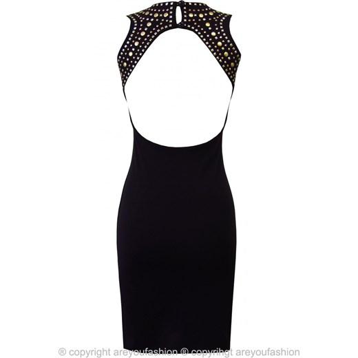 cf68b79641 Sukienka bez pleców na wesele z ćwiekami czarna are-you-fashion elastan