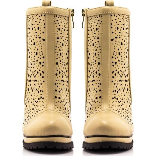 899a0b1a35489 ... Beżowe Botki Ażurowe Openwork Boots Beige born2be-pl brazowy skóra ...