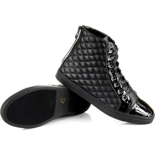 610e01faa8839 ... W.POTOCKI RR15-6206 czarne trampki pikowane lakierowane butyraj-pl  czarny skóra