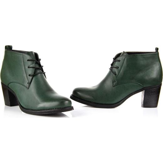 ab81e39d1f87f ... HASBY 1463 zielone botki damskie kowbojki na obcasie butyraj-pl zielony  prosty
