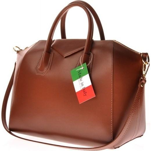 fdfd8f547ec37 MADE IN ITALY Tronco 052 brązowa włoska torebka skórzana kuferek skorzana-com  brazowy