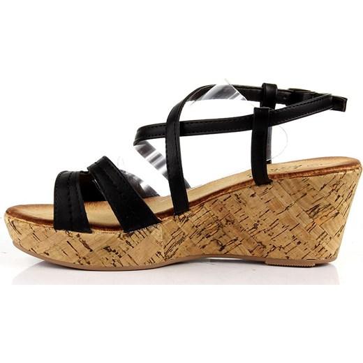 74ab0ac69a060 ... K&M JK019 czarne sandały damskie rzymianki na koturnie platformie  butyraj-pl brazowy sandały ...