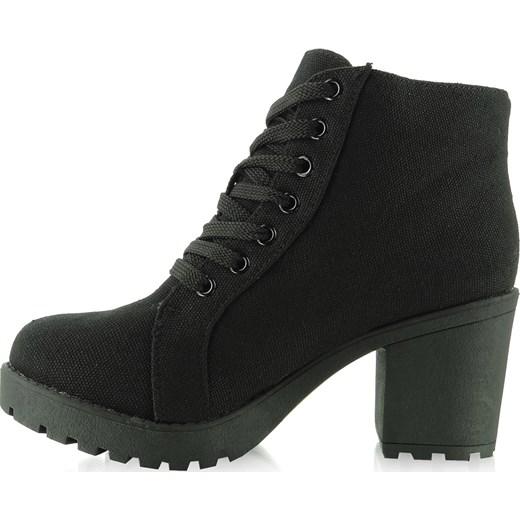 4ab8c6888f022 Płócienne buty szeroki obcas HY1667 czarne kupbuty-com czarny w Domodi