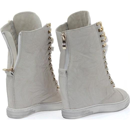 9d6a7ace ... Sneakers skórzane szare marszczone booci-pl szary Botki sznurowane ...