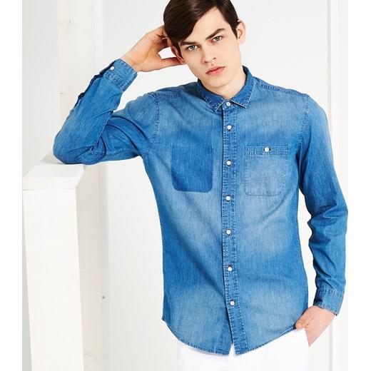 9b6bef406 Jeansowa koszula reserved niebieski Koszule jeansowe męskie w Domodi