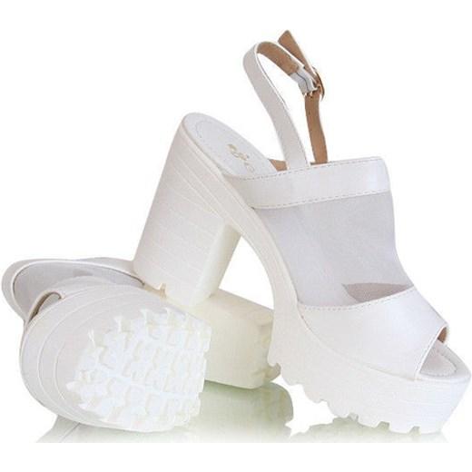 Super Sandały Scully Shoes /G8-2 X137 S5312/ Białe pantofelek24 bialy MJ71