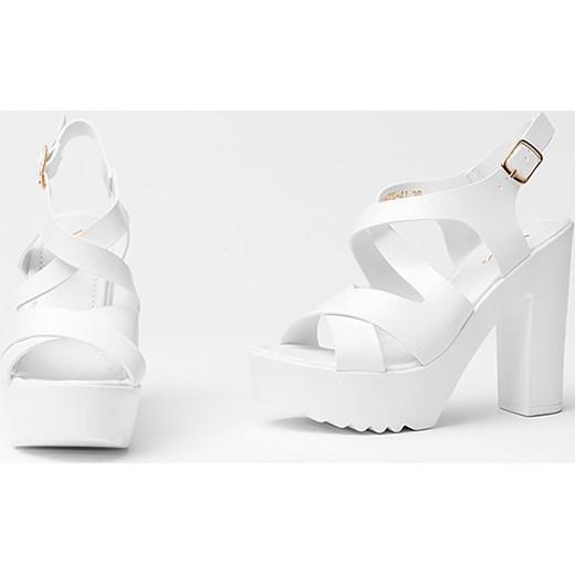 Bardzo dobra Białe Sandały damskie na słupku i platformie merg-pl szary obcasie PB41