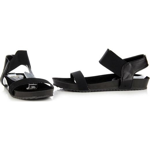 JEZZI czarne sandały damskie płaskie z gumami butyraj pl