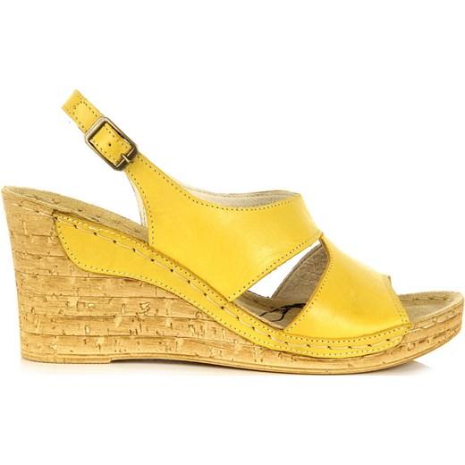 c9a8fef60f97e ... ŁUKBUT 556 skórzane żółte sandały damskie lekkie komfortowe na koturnie  butyraj-pl zolty na platformie ...