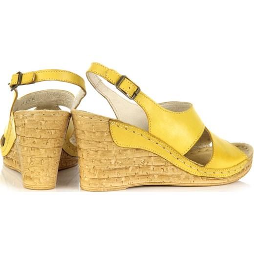d861a6ba79e9e ... ŁUKBUT 556 skórzane żółte sandały damskie lekkie komfortowe na koturnie  butyraj-pl zolty skóra ...