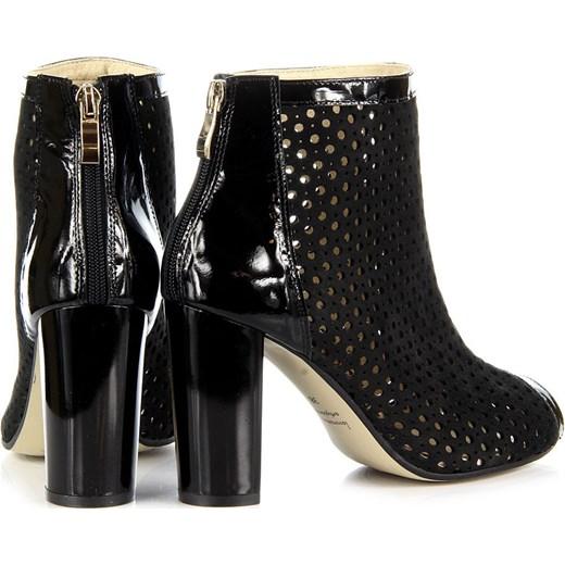 0423cad8cdc8c ... JUMA 2308 skórzane czarne botki damskie peep toe sandały ażurowe butyraj -pl czarny na obcasie ...