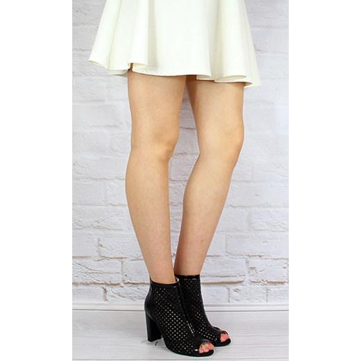 f15734727ec49 ... JUMA 2308 skórzane czarne botki damskie peep toe sandały ażurowe butyraj -pl bezowy Botki na ...