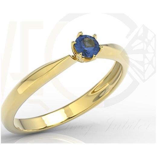 Pierścionek Zaręczynowy Z żółtego I Białego Złota Szafirem Model Ap