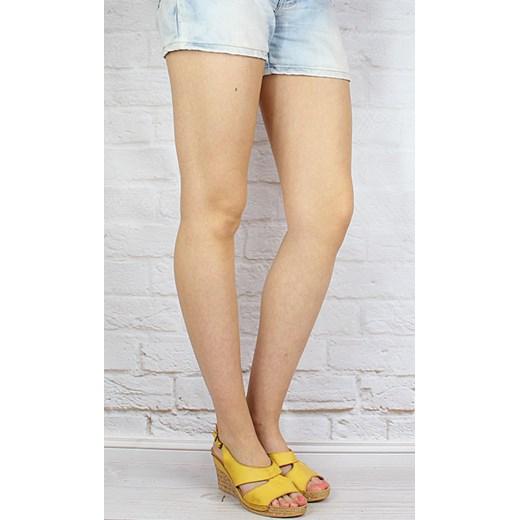 45465542d0228 ... ŁUKBUT 556 skórzane żółte sandały damskie lekkie komfortowe na koturnie  butyraj-pl na koturnie ...
