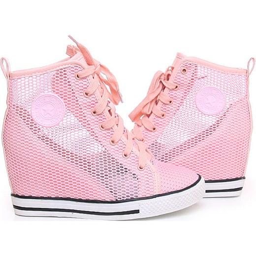 579d16bc ... Ażurowe trampki sneakersy /B2-3 Y18 s5223/ Pudrowy róż pantofelek24  rozowy na koturnie ...