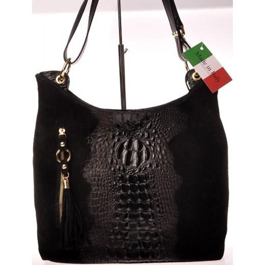 6591f9d03beee MADE IN ITALY Spalla 116 czarna włoska torebka skórzana damska skorzana-com  czarny skóra
