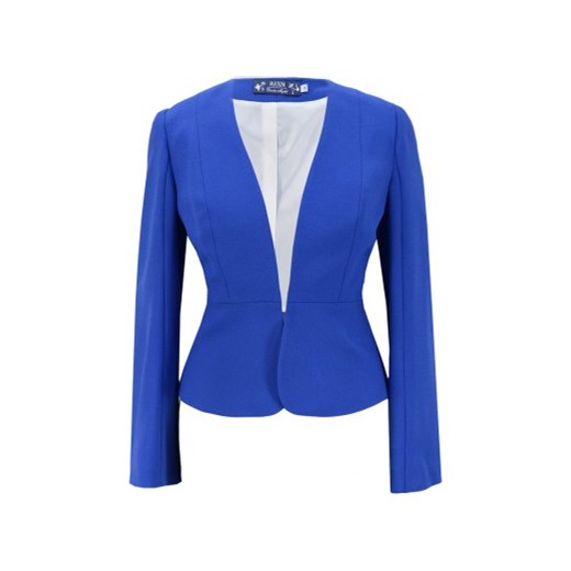 8af175d7d977b Maxim żakiet chabrowy z baskinką n-fashion-pl niebieski damskie w Domodi