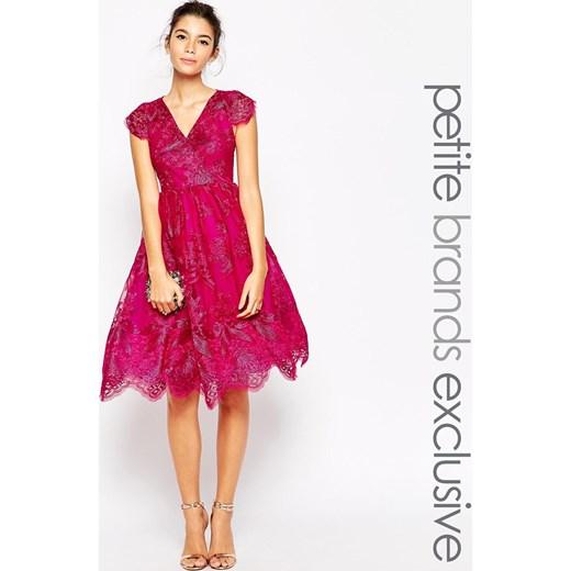 chi london petite metallic lace full prom dress magenta. Black Bedroom Furniture Sets. Home Design Ideas