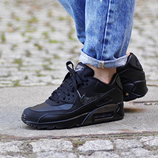 NIKE AIR MAX 90 LEATHER LE ALL BLACK 302519 001 DS