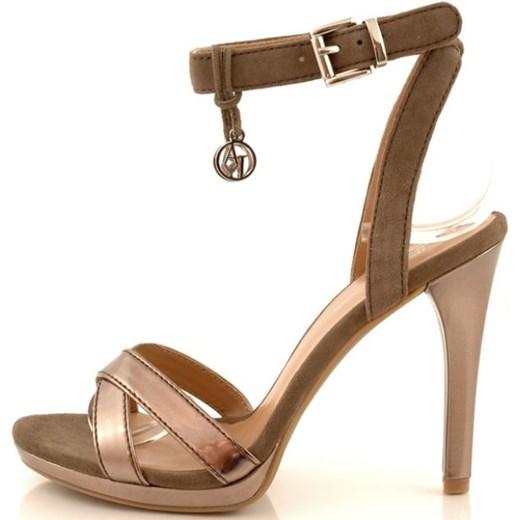 ad5781e0885c2 ... Sandały damskie szpilki Armani Jeans v5559 marrone 2041-019  zebra-buty-pl brazowy