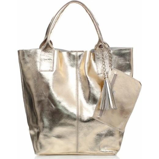22cf2dde9f140 Lakierowane Torebki ze Skóry Shopperbag Złota torbs-pl bialy w Domodi